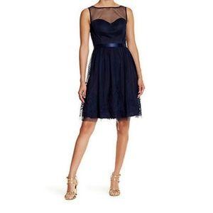 ELIZA J Bridesmaid Sleeveless Illusion Blue Dress